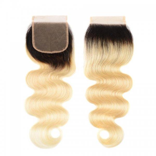 Heaven Sent Hair Blonde 1B/613 4x4 Lace Closures Virgin Human Hair