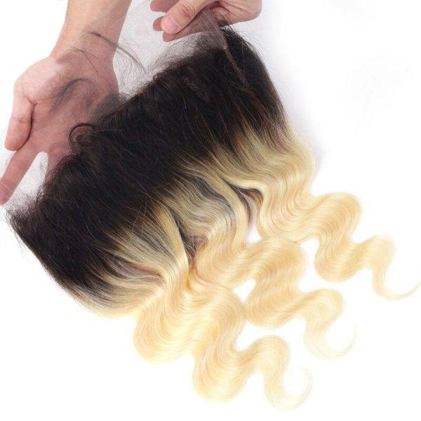 Heaven Sent Hair 1B/613 Ombre 360 Lace Frontal Virgin Human Hair