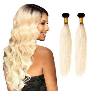 Heaven Sent Hair 1B/613 Blonde Human Hair Extensions 2 Bundle Deals
