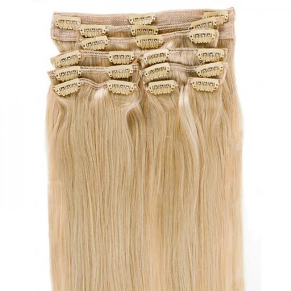 Custom Colored Double Drawn Clip-In Light Hair Extensions