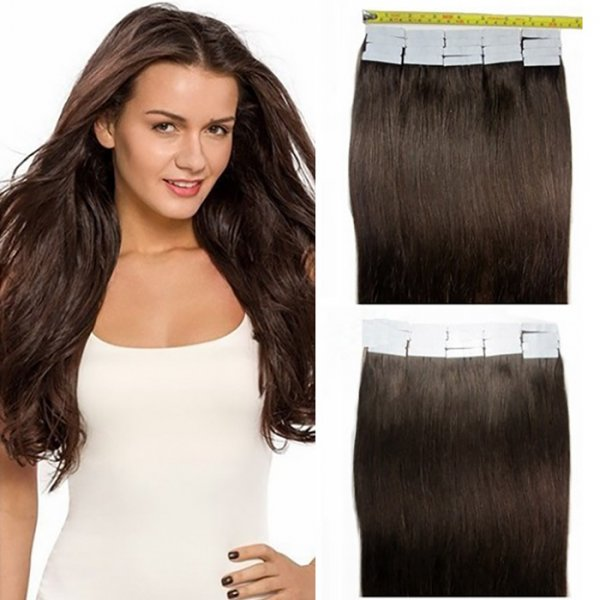 Custom Colored Single Drawn Tape-In Natural Hair Extensions